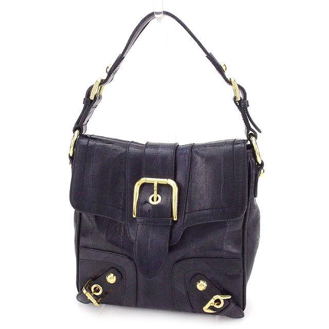 【中古】 ドルチェ&ガッバーナ ハンドバッグ バッグ ネイビー×ゴールド レザー Dolce&Gabbana T2344 ブランド