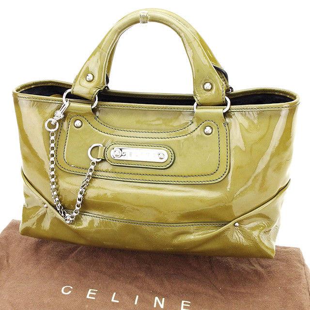 【中古】 セリーヌ ハンドバッグ バッグ ブギーバッグ カーキ パテントレザー Celine T2401 ブランド