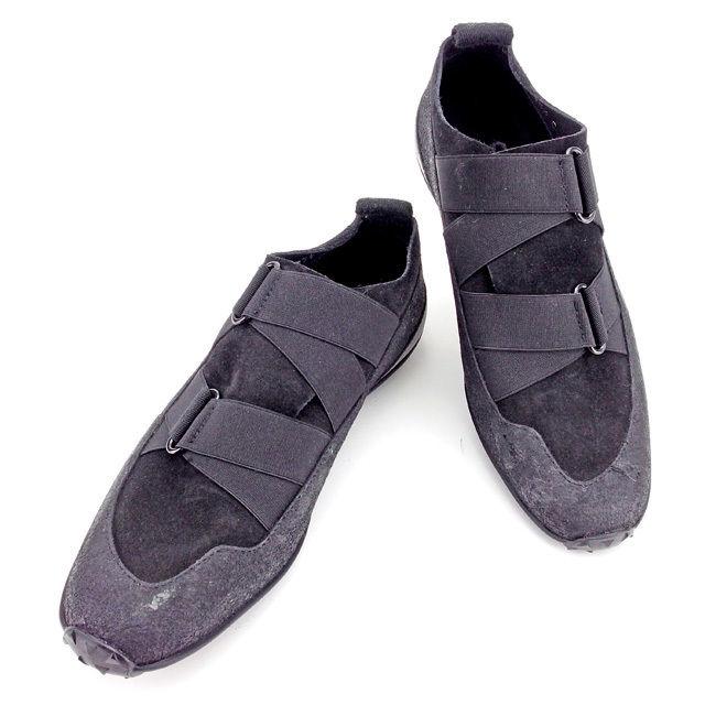【中古】 グッチ シューズ スニーカー 靴 ♯35ハーフC ゴムバンド ブラック キャンバス×レザー×ラバー GUCCI T2670 ブランド