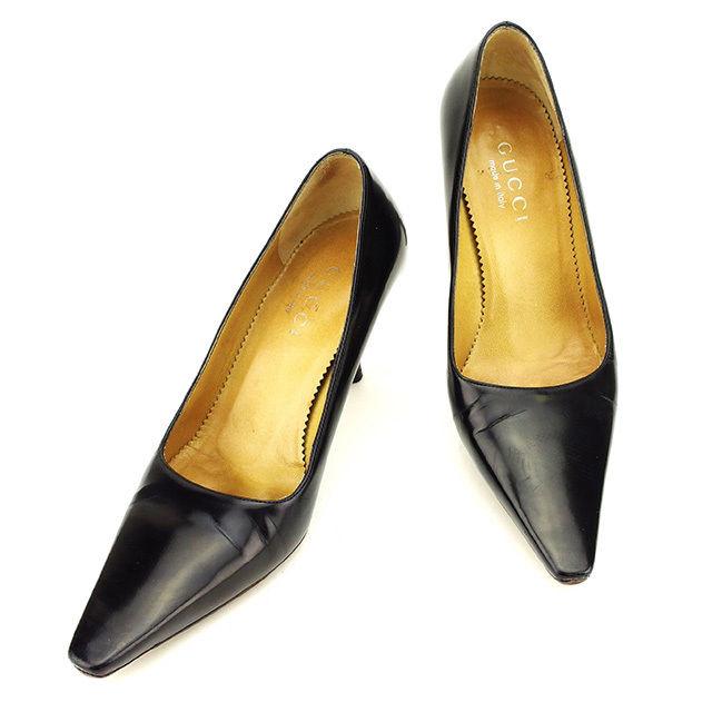 【中古】 グッチ パンプス #35 12 靴 ブラック パテントレザー GUCCI T2724 ブランド