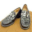 【中古】 グッチ GUCCI ローファー シューズ 靴 レディース ♯36C Gマーク ブラック×シルバー レザー 良品 T422