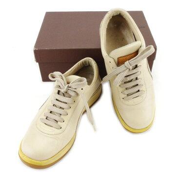 【中古】 ルイ ヴィトン スニーカー #37 シューズ 靴 限定 ベージュ レザー Louis Vuitton T3340 ブランド