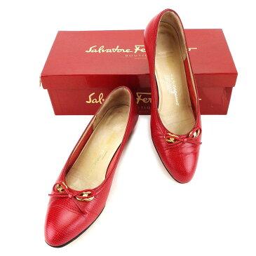 【中古】 サルヴァトーレ フェラガモ Salvatore Ferragamo パンプス #6 1 2 ローヒール 靴 レディース レッド×ゴールド レザー T3344 ブランド