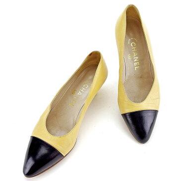 【中古】 シャネル パンプス シューズ 靴 ♯37 バイカラー ベージュ×ブラック レザー CHANEL T3608 ブランド