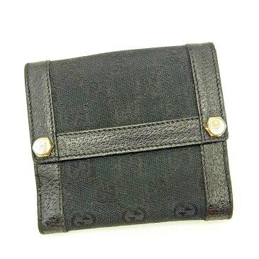 【中古】 グッチ Gucci Wホック財布 二つ折り 財布 レディース メンズ 可 GGキャンバス ブラック キャンバス×レザー 人気 T3666