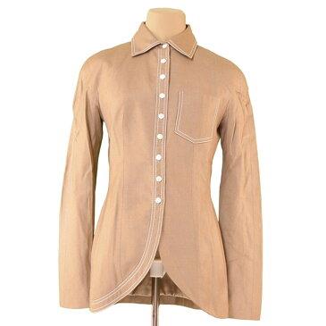 【中古】 ディオール Dior ジャケット 胸ポケット付き レディース ♯USA6サイズ ベージュ×ホワイト VI 88%Linen 12%(裏地)シルクSilk 100% T3702 ブランド