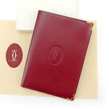 【中古】 カルティエ Cartier パスポートケース パスポートカバー レディース メンズ 可 ボルドー×ゴールド レザー T4167 ブランド