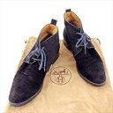 【中古】 エルメス HERMES ブーツ シューズ 靴 レディース ショート丈 チャッカブーツ ブラック スエード 人気 T4180 .