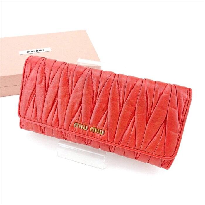 【中古】 ミュウミュウ 長財布 さいふ 財布 さいふ ファスナー付き マテラッセ ピンク×ゴールド レザー miu miu T4447 ブランド