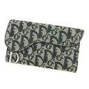 【中古】 ディオール 長財布 三つ折り 財布 Dior ブラック T4899s .