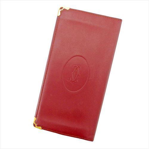 【中古】 カルティエ 長札入れ 札入れ マストライン ボルドー ゴールド レザー Cartier T5745 ブランド