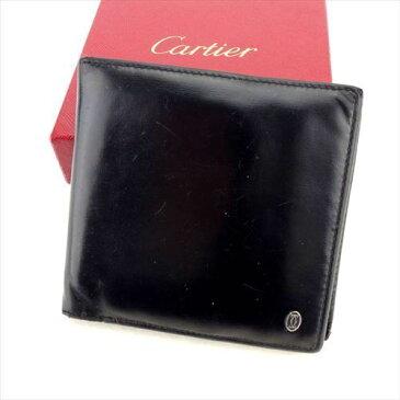 【中古】 カルティエ 二つ折り 財布 さいふ パシャ ブラック レザー Cartier T5968