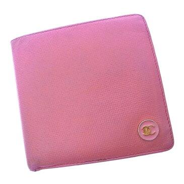 【中古】 シャネル Chanel 二つ折り財布 財布 コンパクトサイズ ピンク×ゴールド ココボタン レディース Y2464s .
