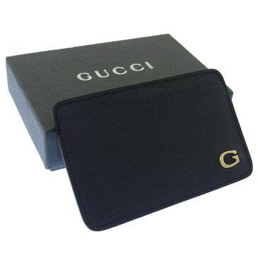 【中古】 グッチ Gucci カードケース パスケース ブラック×ゴールド G金具付き レディース Y893s .