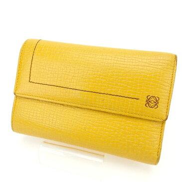 【中古】 ロエベ Loewe 三つ折り財布 財布 イエロー レディース Y938s .