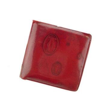 【中古】 カルティエ Cartier 二つ折り財布 財布 ボルドー ハッピーバースデー レディース Y3728s .