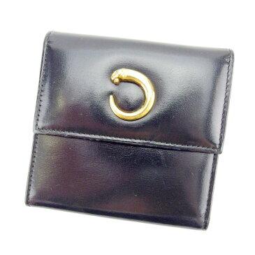 【中古】 カルティエ Cartier 二つ折り財布 財布 ブラック×ゴールド パンテール レディース Y3878s .