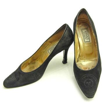 【中古】 ヴェルサーチ Versace パンプス シューズ 靴 ブラック ♯35 サンバースト レディース Y6025s .