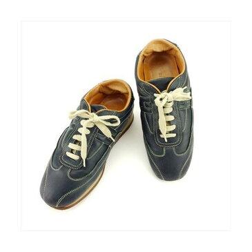 【中古】 エルメス スニーカー 靴 シューズ #38 ネイビー レザー HERMES T6194 ブランド