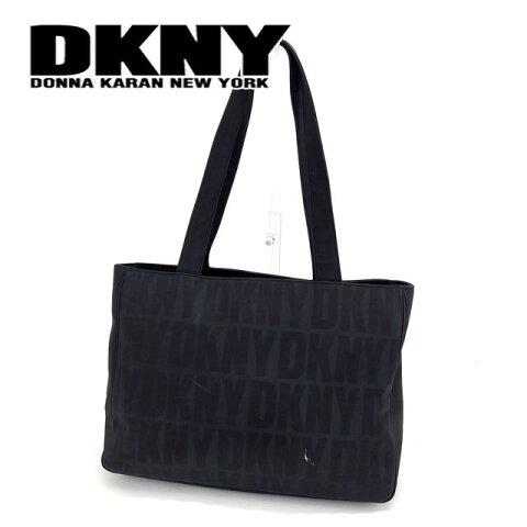 【中古】 ダナキャランニューヨーク トートバッグ ショルダーバッグ ロゴ柄 ブラック ナイロンキャンバス DKNY バック 収納 ファッションバッグ 手持ちバッグ 人気 贈り物 迅速発送 在庫処分 1点物 H446 ブランド