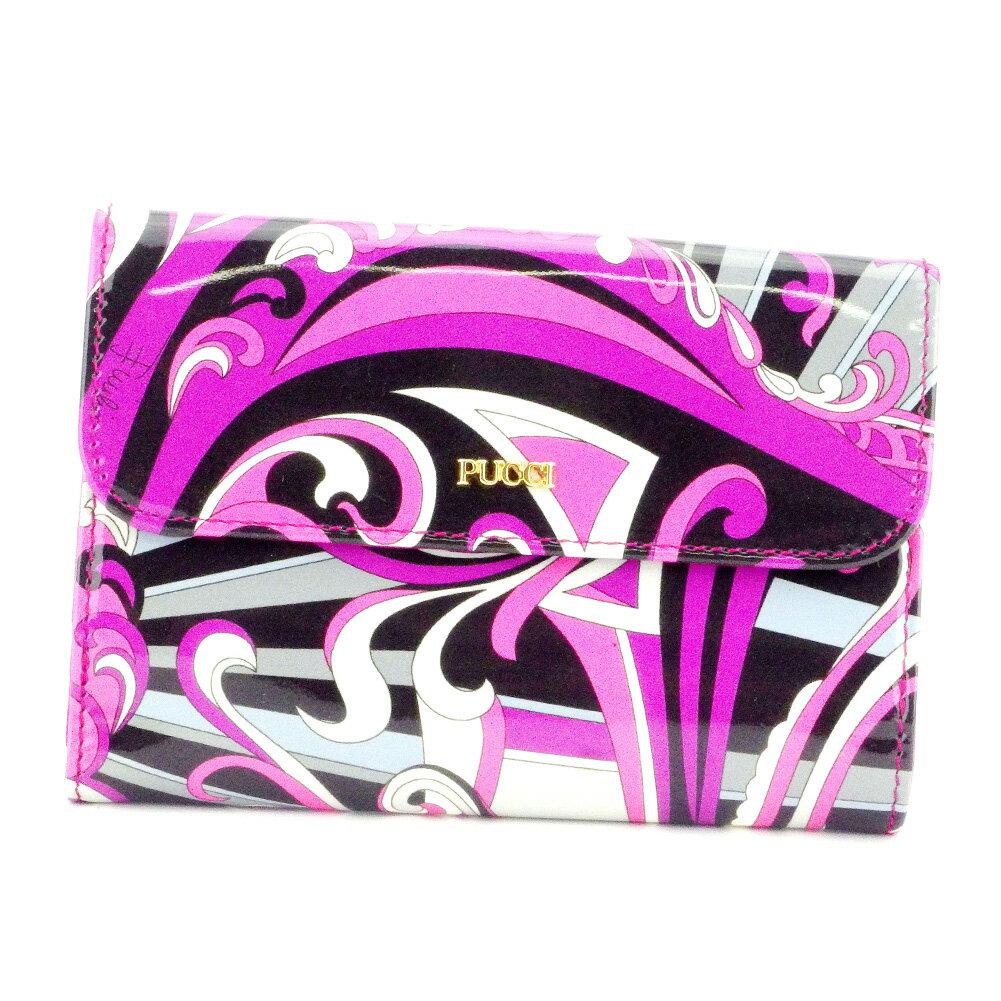 【ポイント10倍】 【中古】 エミリオ プッチ Wホック 財布 さいふ 二つ折り プッチ(柄) ピンク パープル ブラック系 エナメルレザー EMILIO PUCCI T9899