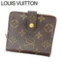 【中古】 ルイ ヴィトン Louis Vuitton 二つ折り財布 財布 ラウンドファスナー ブラウン コンパクトジップ モノグラム レディース F454s .