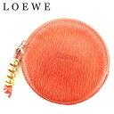 【中古】 ロエベ LOEWE コインケース 小銭入れ レディース メンズ ラウンドフォルム 丸型 ツイスト金具 オレンジ ゴールド レザー 人気 セール C3239