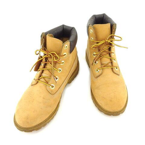 【中古】 ティンバーランド Timberland ブーツ シューズ 靴 レディース ♯JP23 ジュニア ベージュ ブラウン系 ヌバックレザー H593