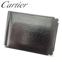 86759a2add40 【中古】 カルティエ Cartier 二つ折り 札入れ 二つ折り 財布 レディース メンズ マストライン ブラック