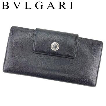 【中古】ブルガリ BVLGARI 長財布 小銭入れ レディース メンズ ブルガリブルガリ ブラック レザー T8938