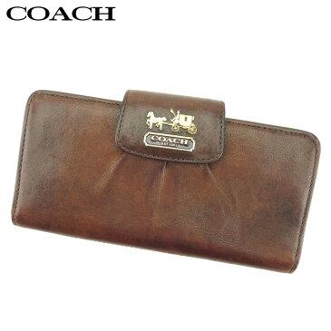 【中古】 コーチ COACH 長財布 ファスナー付き 長財布 レディース ブラウン レザー 人気 セール P836