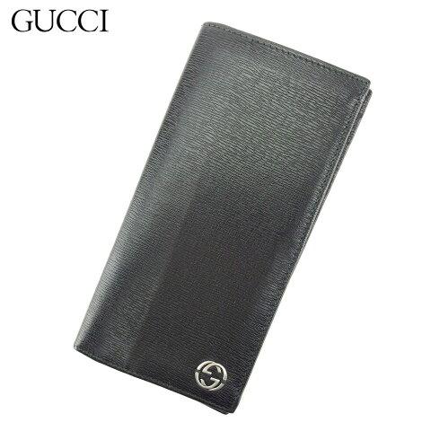 【中古】 グッチ Gucci 長札入れ 長財布 レディース メンズ ブラック レザー T9209 .