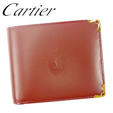 【ポイント10倍】 【中古】 カルティエ Cartier 二つ折り 札入れ 二つ折り 財布 さいふ レディース メンズ ボルドー レザー L2735