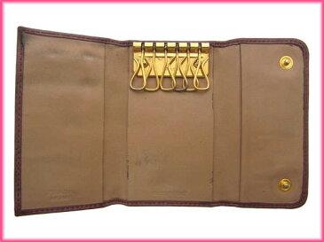 【中古】 【送料無料】 プラダ PRADA キーケース 6連 レディース リボンモチーフ付き ロゴ ピンク×ゴールド レザー C680s .