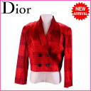 【中古】 【送料無料】 (良品・即納) クリスチャン・ディオール Christian Dior ジャケット 肩パッド入り レディース ダブル・ショート丈 タータンチェック レッド系 C 50%RY48%PU 2%(裏地)キュプラ 100% C782
