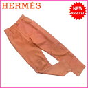 【中古】 【送料無料】 エルメス HERMES パンツ ステッチ切替え レディース レザーパンツ オレンジ レザー(裏地)Acetate 60%Bemberg 40% D803