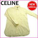 【中古】 【送料無料】 (良品・即納) セリーヌ CELINE シャツ メンズ ロゴ刺繍 イエロー 綿100% E355s .