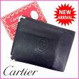 【送料無料】 ( 人気 ) カルティエ Cartier 二つ折り財布 メンズ可 マストライン ブラック×ボルドー レザー 【中古】 G423