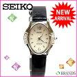 【送料無料】 セイコー SEIKO 腕時計 ラインストーン ブラック×シルバー レザー×シルバー素材 (あす楽対応)( 美品 ・即納)【中古】 J144