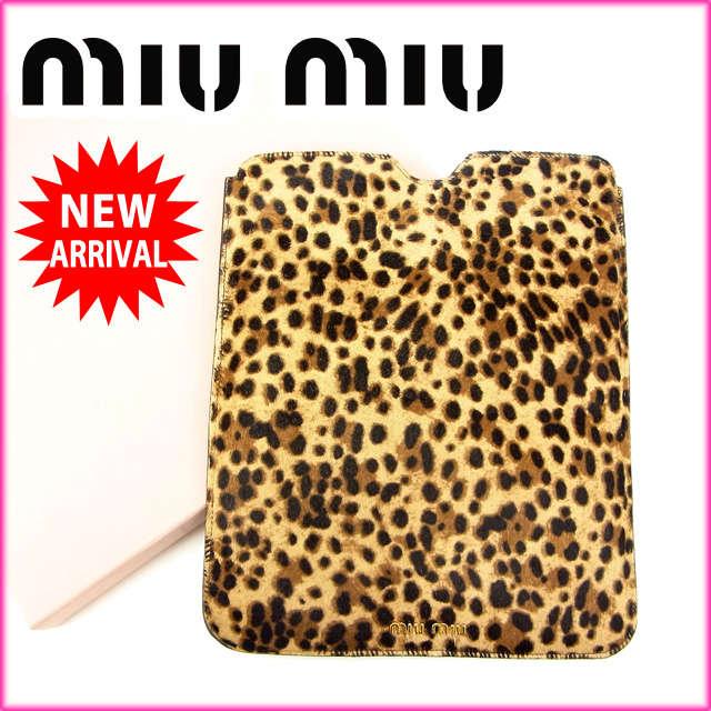 ミュウミュウ miumiu iPadケース レオパード ハラコ (あす楽対応)人気 美品【中古】 J3655:ブランドデポ