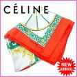 【送料無料】 セリーヌ CELINE スカーフ レッド×グレー 100%シルク (あす楽対応) 人気 美品 【中古】 J4763