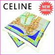 【送料無料】 セリーヌ CELINE スカーフ レディース グリーン 100%シルク (あす楽対応) 美品 【中古】 F968