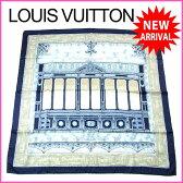 【送料無料】 ルイヴィトン Louis Vuitton スカーフ 大判サイズ メンズ可 街景色柄 限定 グレー×ネイビー系 SILK/100% (あす楽対応)新品 未使用【新品 未使用】 J7583