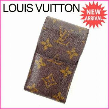 【中古】 【送料無料】 ルイヴィトン Louis Vuitton シガレットケース タバコケース メンズ可 エテュイシガレット モノグラム M63024 ブラウン モノグラムキャンバス (あす楽対応)(参考定価26250円) Y2474s