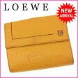 【送料無料】 ロエベ LOEWE Wホック財布 二つ折り コンパクトサイズ メンズ可 アナグラム イエロー系 レザー (あす楽対応) 人気 【中古】 J8418
