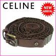 【送料無料】 セリーヌ CELINE ベルト ファッションアイテム メンズ可 ♯30・75 2重巻き ブラウン×アンティークゴールド レザー (あす楽対応) 【中古】 J6649