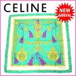【送料無料】 セリーヌ CELINE スカーフ 大判サイズ レディース タッセル柄 グリーン×ゴールド系 SILK 100% (あす楽対応) 人気 【中古】 F880