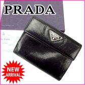 【送料無料】 プラダ PRADA Wホック財布 メンズ可 ブラック レザー (あす楽対応) 人気 【中古】 D1226 ★
