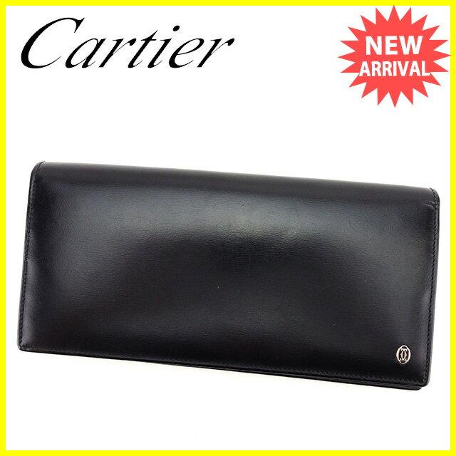 カルティエ Cartier ジップ長財布 長財布 二つ折り財布 財布 メンズ可   ブラック レザー 美品 セール 【中古】 H499:ブランドデポ