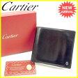 【送料無料】 カルティエ Cartier 二つ折り財布 メンズ パシャ ブラック×シルバー レザー 良品 セール 【中古】 J17489